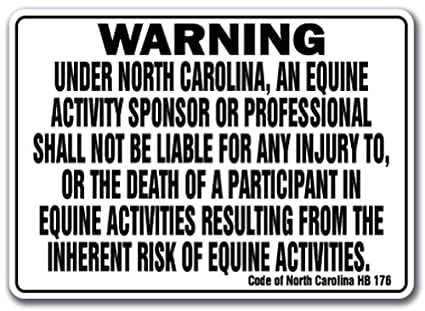 AmazonCom  North Carolina Equine Sign Activity Liability Warning