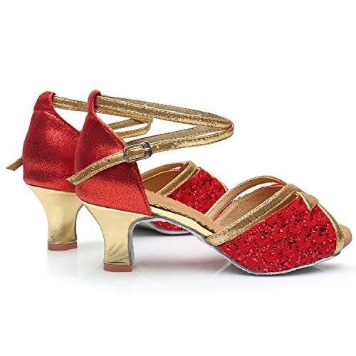 Azbro Mujer Zapato Baile de Latín Tacón Alto Correa Cruzada Lentejuelas Puntera Abierta Negro