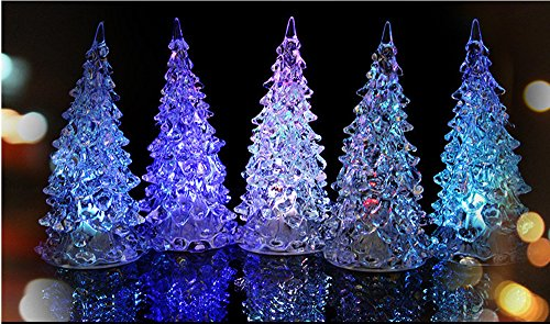Mantle Ornament (Christmas Tree LED - Set of 6 Acylic Xmas Trees with Painted Colorful Ornaments - Coloring Changing Light Lamp Home Party Decoration Wedding (A))