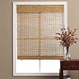 1 Piece 28''W x 98''L Light Brown Ochre Tan Natural Wood Pull Up Bamboo Blind. Eco Friendly Rustic Roman Country Horizontal Slat With Built In Valance Nature Window Treatment Allows Gentle Sunlight