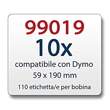 10x Label kompat zu Dymo 99019 59 x 190 mm 110 Label Etiketten pro Rolle