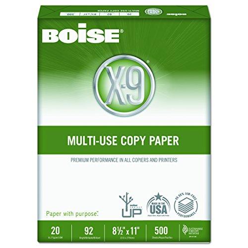 Boise OX9001 X-9 Multi-Use Copy Paper, 92 Bright, 20lb, 8-1/2 x 11, White (Case of 5000 Sheets)