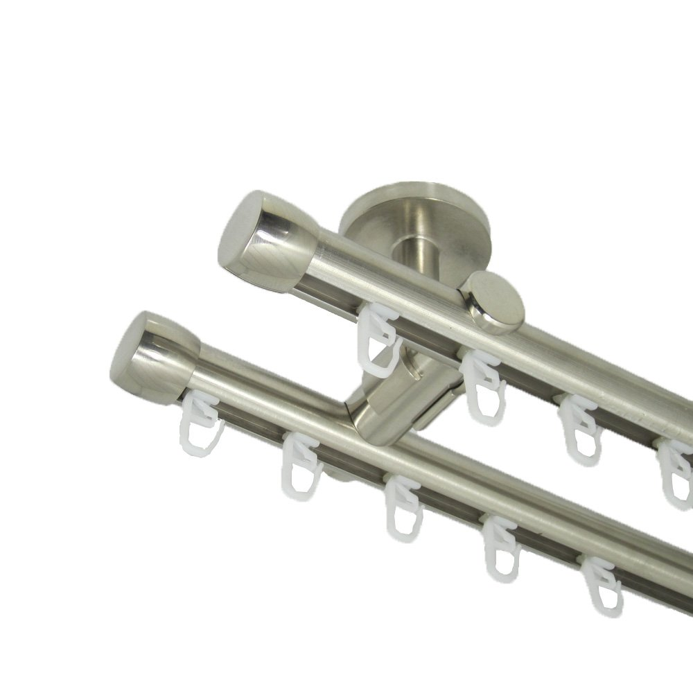 Deko-Team nnenlauf Gardinenstange 20 mm, mit Endkappen, zweiläufig, Deckenbefestigung (450 cm)