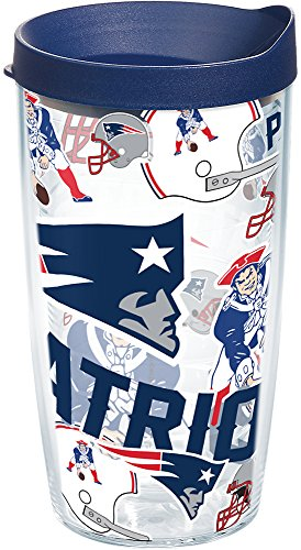 Tervis 1248021 NFL New England Patriots All Over Tumbler with Wrap and Navy Lid 16oz, Clear