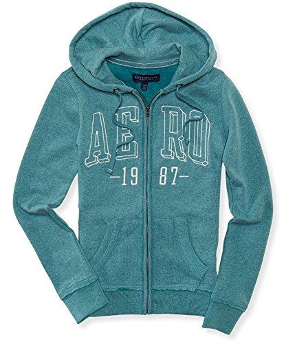 Aeropostale Womens Box Logo Hoodie Sweatshirt, Green, ()