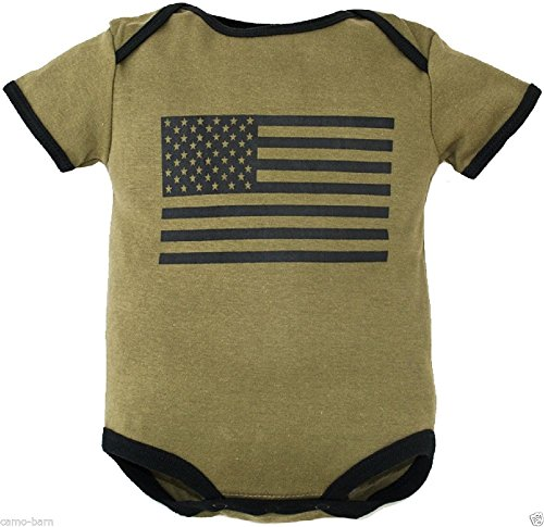 (Olive Drab Green Bodysuit with Large Americam Flag on Front (6-9 Months))