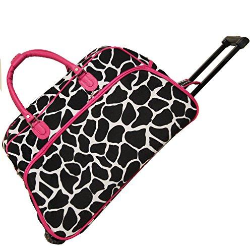 - World Traveler 21-Inch Carry-On Rolling Duffel Bag, Fuchsia Trim Giraffe