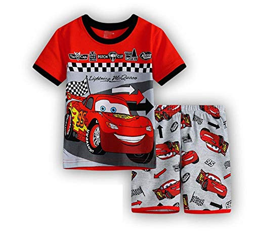 Boys Pajamas 100% Cotton Cars Short Kids Snug Fit Pjs Summer Toddler Sleepwear, Size 2Yrs-14Yrs (33, 5T) -