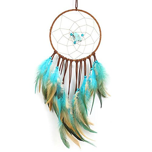 Handmade Dream Catcher with Turquoise, Malicosmile Indian Feather Decorations Dream Catchers for Bedroom Living Room Balcony Locker Cubicle Hanging