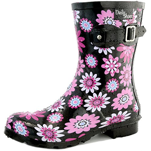 Women's DailyShoes Mid Calf Buckle Ankle High Hunter Rain Boot Round Toe Rainboots, Purple Daisy, 13 B(M) US (Daisies Raining)