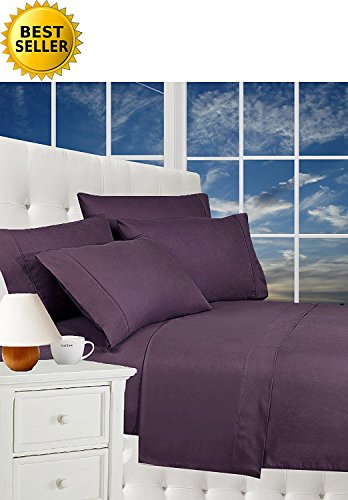 - Luxurious Bed Sheets Set on Amazon! Celine Linen1800 Thread Count Egyptian Quality Wrinkle Free 4-Piece Sheet Set with Deep Pockets 100% Hypoallergenic, Full Purple