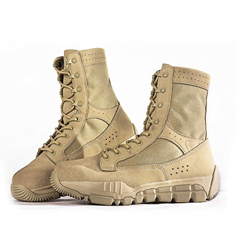 FREE SOLDIER Men's Suede Leather Tactical Boots Mid Cut Breathable Lightweight Hiking Shoes (Sand color, 8.5)