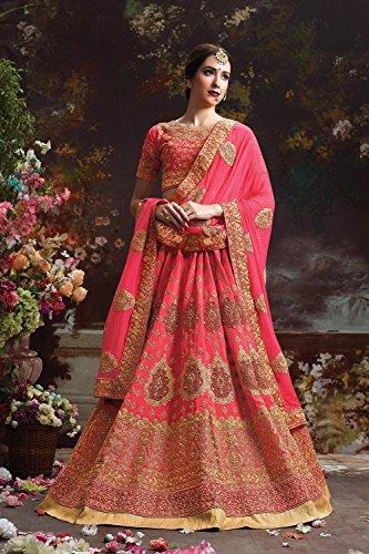 Indian Women Designer Wedding Pink Lehenga Choli Fabz-2601