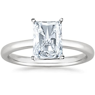 2afa0331e 14K White Gold Radiant Cut Solitaire Diamond Engagement Ring (2 Carat I-J  Color I1 Clarity) | Amazon.com