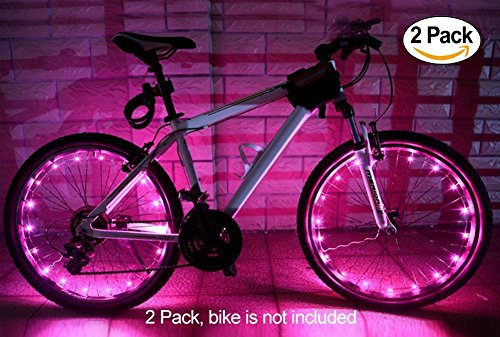 2 Pack Led Bike Wheel Light | Waterproof Bicycle Tire Light | Safety Battery Spoke Lights for Kids and Adult| Cool Bike Accessories and Decoration for bicyclers to ride at night (Pink)