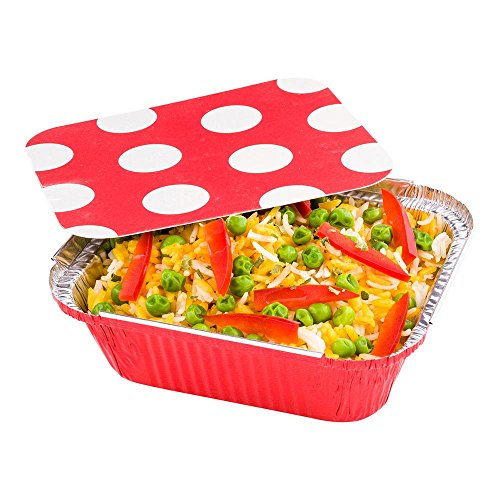 Disposable Aluminum Foil Take Out Food Containers, To Go Pans with Lids - 12 oz - Catering, Meal Prep, Carry Out - Red Foil with Polka Dot Lid - 50ct ()