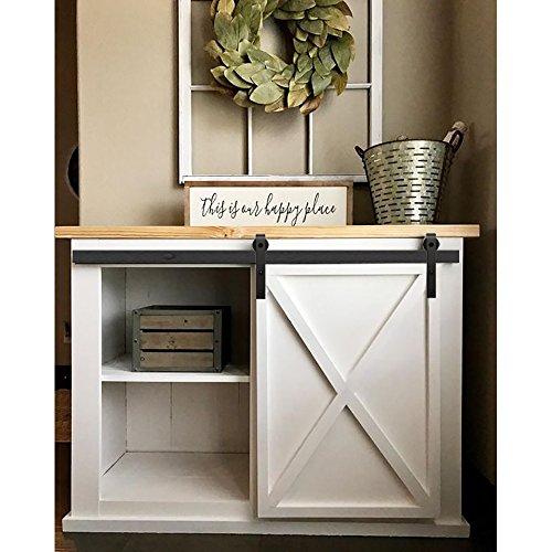 (ZEKOO 7 FT Mine Style Cabinet Small Sliding Barn Door Hardware Track Kit Decorate Hang)