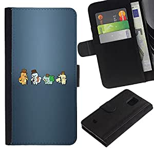 YiPhone /// Tirón de la caja Cartera de cuero con ranuras para tarjetas - Meter Hipsters Monster - Samsung Galaxy S5 Mini, SM-G800