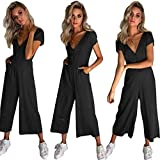 Cinyifaan Women's V Neck Casual Loose Long Jumpsuits Romper Playsuit with Belt