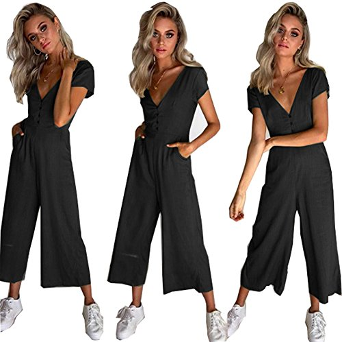 Cinyifaan Women's V Neck Casual Loose Long Jumpsuits Romper Playsuit with Belt by Cinyifaan