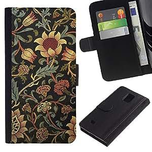 Billetera de Cuero Caso Titular de la tarjeta Carcasa Funda para Samsung Galaxy Note 4 SM-N910 / Sunflower Rustic Wallpaper Floral / STRONG