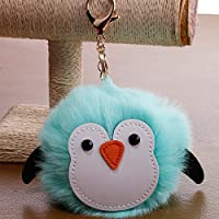 Dalino Fashion and Personality PU Penguin Plush Ball Key Chain Pendant Plush Doll Key Ring Keychain(Mint Green)