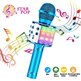 BlueFire 4 in 1 Bluetooth Handheld Wireless Karaoke Microphone Portable Speaker Machine Home KTV Player with Record Function for Android & iOS Devices(Blue)