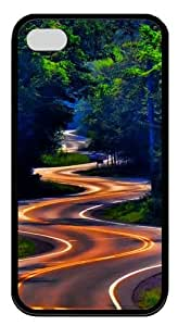 Curvy Forest Road iPhone 4S/4 Case and Cover - TPU Silicone Rubber - Black