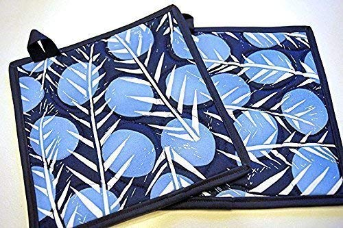 Blue Botanical Quilted Pot Holders Set with Hanging Tabs