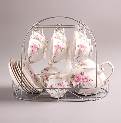 European Bone China,Golden camellia Printed Ceramic Porcelain Tea Cup Set With Lid And Saucer,Including The Metal Holder