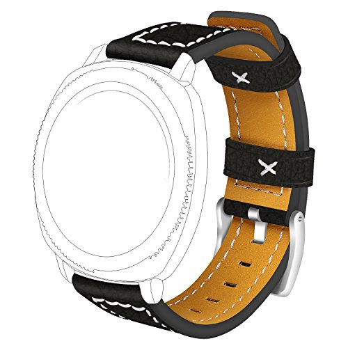 RuenTech For Garmin Forerunner 645/645 Music Band 20MM Quick Release Genuine Leather Replacement Bands for Garmin Forerunner 645 GPS Running Watch (Frosted Black)