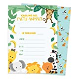 Zoo 3 Animals Happy Birthday Invitations Invite Cards (25 Count) With Envelopes & Seal Stickers Vinyl Girls Boys Kids Party