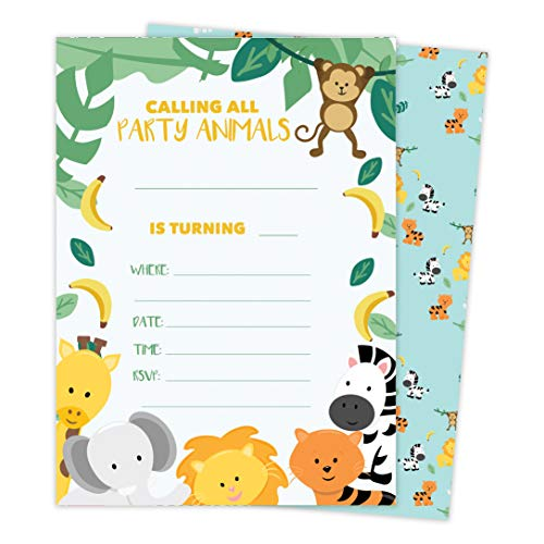 Zoo 3 Animals Happy Birthday Invitations Invite Cards (25 Count) With Envelopes & Seal Stickers Vinyl Girls Boys Kids Party (25ct)