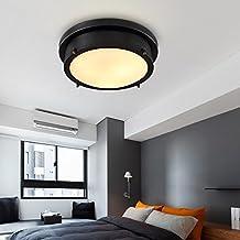 JinYuZe Vintage Semi Flush Mount Black Ceiling Lamp Fixture, LED Warm Light (Diameter 350mm)