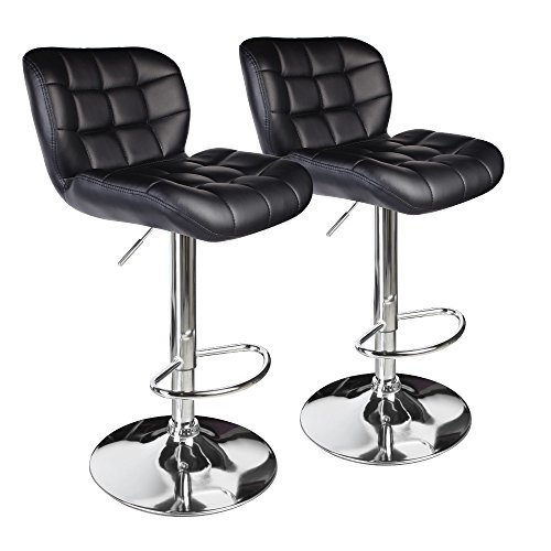Leopard Deluxe adjustable bar stools,Chairs set of 2,Black