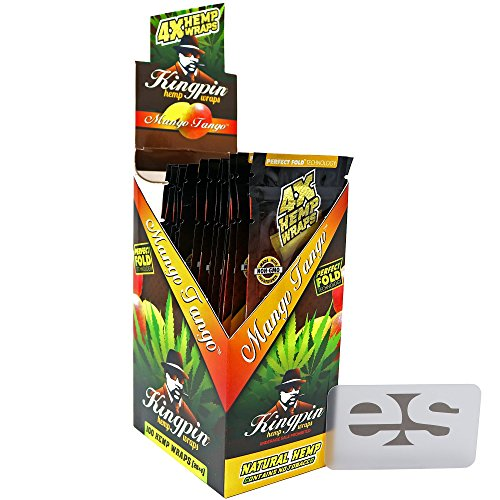 Price comparison product image KingPin Pure Hemp Mango Tango Flavored Wraps (Box of 25 Packs,  4 Wraps Per Pack) with ES Scoop Card