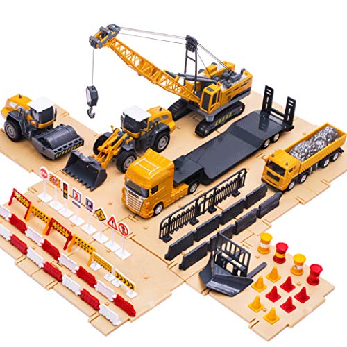 iPlay, iLearn Engineering Construction Site Play Set, Bulldozer, Steamroller, Forklift, Crane, Dump Truck, Plow, Trailer, Equipment Vehicles, Signs & Cones, Toy Gift for Boys, Girls, Kids & Children