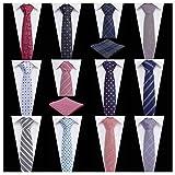 Men's Ties,Tsheoul Noted Lot 12 PCS Classic Cotton Plaid+Printed Floral+Pure Color+Striped Skinny Necktie & 2 PCS Pocket Square - Multiple Sets (2.5''+12 pcs+Square-03)