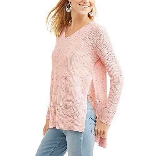 Faded Glory Womens Hi-Low Tunic Sweater (XL, Rose Blush Combo)