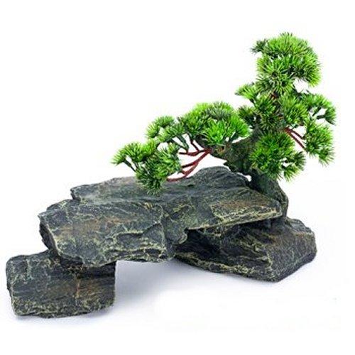 Penn Plax Large Bonsai Tree on Rocks RR992