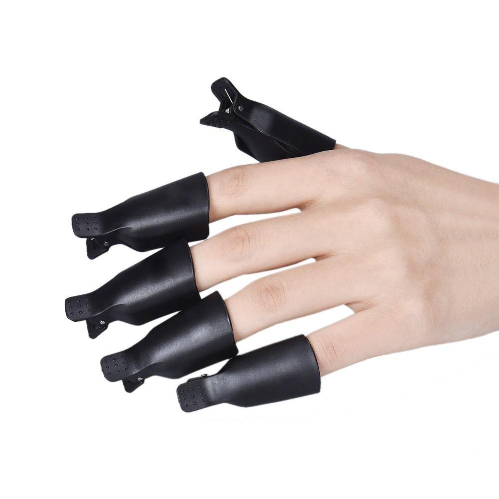 Dionshop Popular 10PC Plastic Nail Art Soak Off Cap Clip UV Gel Polish Remover Wrap Tool (Black)