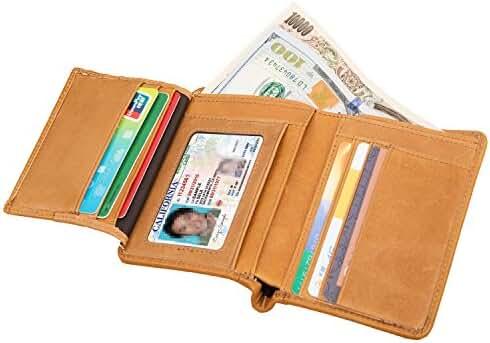 DrawingIQ Men's Genuine Leather Wallet Slim Trifold Multi-Card Holder Wallet