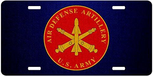 Premium Aluminum License Plate - U.S. Army Air Defense Artillery, branch plaque