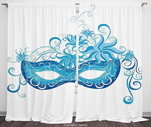 (Rod Pocket Curtain Panel Polyester Translucent Curtains for Bedroom Living Room Dorm Kitchen Cafe/2 Curtain Panels/108 x 108 Inch/Masquerade,Venetian Style Mask Majestic Impersonating Enjoying)
