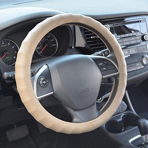 BDK SW-899-LB Beige 15.5-16.5 Ergonomic ComfortGrip Originals Steering Wheel Cover for Car Auto (Sedan Truck SUV Minivan) - Universal Fit 15.5
