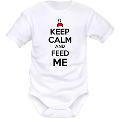 SIMEDIO Body bébé rigolo   Keep Calm and FEED ME - Blanc - 1 mois 47c8b521524