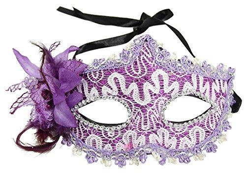 [Simplicity Lace Rhinestone Venetian Mask Masquerade Costume Party, Purple] (Tiki Mask Costumes)