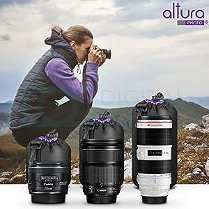 (PAQUETE DE 3) CONJUNTO DE BOLSA PROTECTORA DE NEOPRENO GRUESO DE ALTURA para cámara DSLR (Canon, Nikon, Pentax, Sony, Olympus, Panasonic) - Incluye: Bolsas pequeñas, medianas y grandes