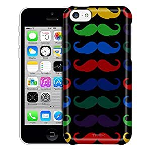 Apple iPhone 5C Case, Slim Fit Snap On Cover by Trek Multiple Mustache on Black Trans Case