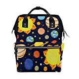 WOZO Cute Dark Solar System Multi-function Diaper Bags Backpack Travel Bag